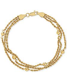 Multi-Strand Bead Bracelet in 10k Gold