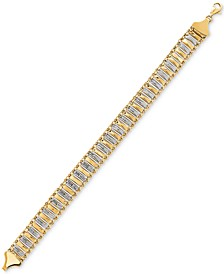 Two-Tone Bar Link Bracelet in 10k Gold & White Gold