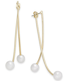 I.N.C. Gold-Tone Imitation Pearl Bypass Earrings, Created for Macy's