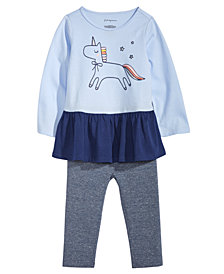 First Impressions Baby Girls Unicorn-Print Peplum Top & Metallic Leggings, Created for Macy's