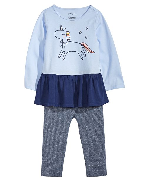 3b0f7c0534ccd3 Baby Girls Unicorn-Print Peplum Top & Metallic Leggings, Created for Macy's