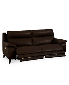 """Milany 87"""" Leather Power Reclining Sofa with Power Headrest and USB Power Outlet, Created for Macy's"""