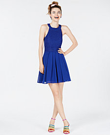 Trixxi Juniors' Bow-Back Glitter Fit & Flare Dress