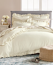 Martha Stewart Collection Luxury Ruffle Cotton Reversible Full/Queen Duvet Cover, Created for Macy's