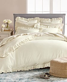 CLOSEOUT! Martha Stewart Collection Luxury Portuguese Flannel Ruffle Full/Queen Duvet Cover, Created for Macy's