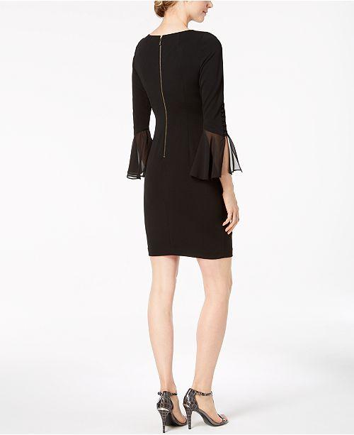 f83f35ff75f3a Calvin Klein Petite Ruffled-Sleeve Sheath Dress   Reviews - Dresses ...