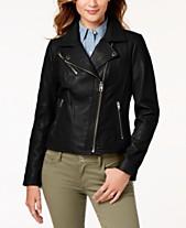ed17b833de2 MICHAEL Michael Kors Leather Zipper Moto Jacket