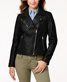 26a441a0dadb MICHAEL Michael Kors Leather Zipper Moto Jacket