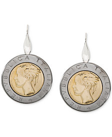 Giani Bernini Two-Tone Coin Drop Earrings in Sterling Silver & 18k Gold-Plate, Created for Macy's