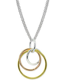 "Giani Bernini Tricolor Interlocking Circle Pendant Necklace in Sterling Silver, 18k Gold-Plate & 18K Rose Gold-Plate, 16"" + 2"" extender, Created for Macy's"