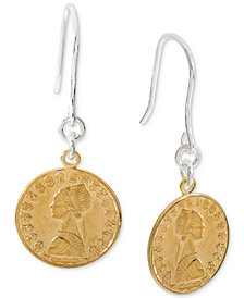 Giani Bernini Two-Tone Coin Drop Earrings in Sterling Silver, Created for Macy's