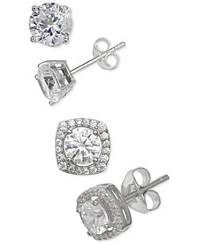 2-Pc. Set Cubic Zirconia Stud Earrings in Sterling Silver, Created for Macy's