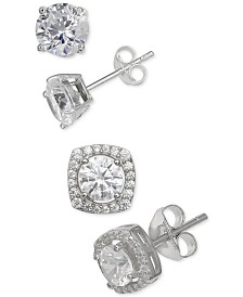 Giani Bernini 2-Pc. Set Cubic Zirconia Stud Earrings in Sterling Silver, Created for Macy's