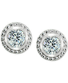 Giani Bernini Cubic Zirconia Beaded Edge Stud Earrings in Sterling Silver, Created for Macy's