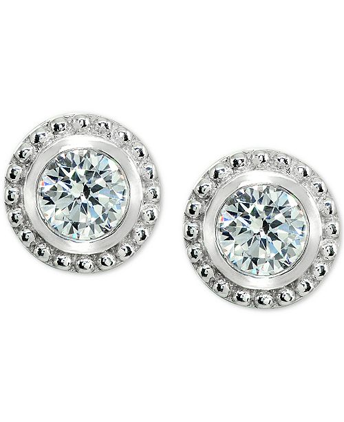 Giani Bernini Cubic Zirconia Beaded Edge Stud Earrings in Sterling Silver, Created for Macy's
