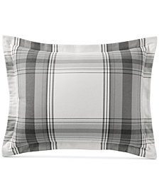 Martha Stewart Collection Grayscale Plaid Cotton  Flannel Standard Sham, Created for Macy's