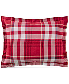 Martha Stewart Collection Winter Plaid Cotton Standard Sham, Created for Macy's