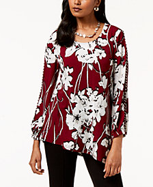 JM Collection Petite Split-Sleeve Studded Tunic, Created for Macy's