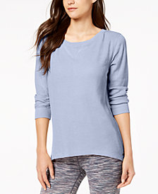 Calvin Klein Performance 3/4-Sleeve Lace-Up Back Top