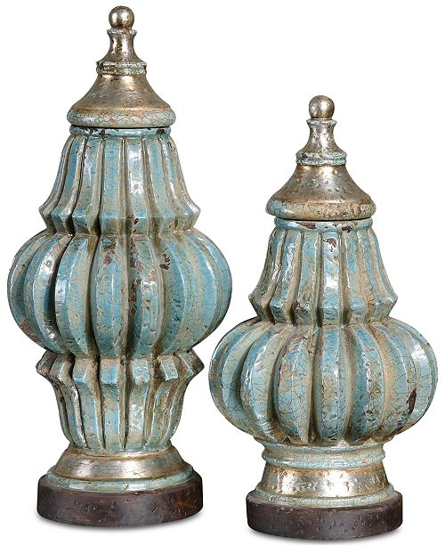 Uttermost Fatima Sky Blue Decorative Urns, Set of 2