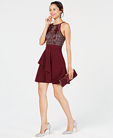 Speechless Juniors' Embellished Fit & Flare Dress