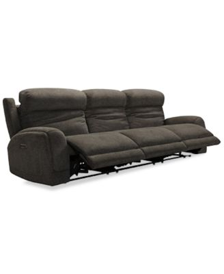 "Winterton 135"" 3-Pc. Fabric Power Reclining Sectional Sofa With 3 Power Recliners, Power Headrests, Lumbar And USB Power Outlet"