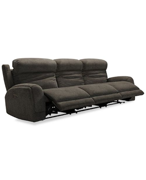 "Furniture Winterton 113"" 3-Pc. Fabric Power Reclining Sectional Sofa With 3 Power Recliners, Power Headrests, Lumbar And USB Power Outlet"