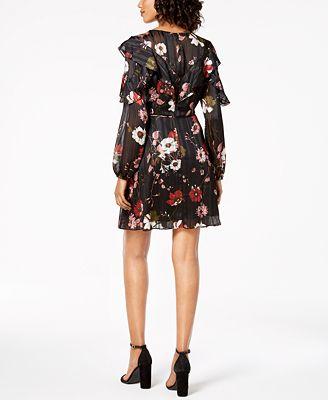 Adrianna Papell Floral Print Ruffle Dress Dresses Women Macy S