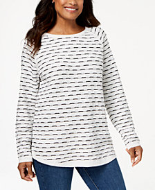 Karen Scott Petite Cotton Textured Curved-Hem Sweater, Created for Macy's