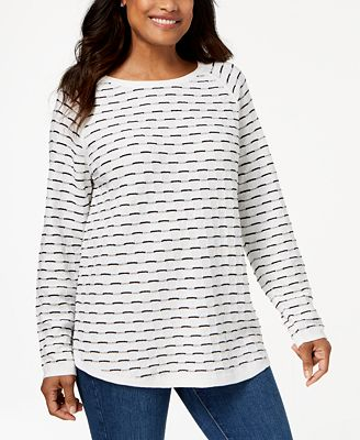 Karen Scott Textured Cotton Sweater Created For Macys Sweaters