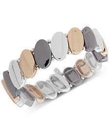 Nine West Tri-Tone Oval Disk Stretch Bracelet