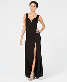 Juniors' Sweetheart Side-Slit Gown