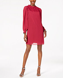 Nanette by Nanette Lepore Mock-Neck Lace & Pleated Dress, Created for Macy's