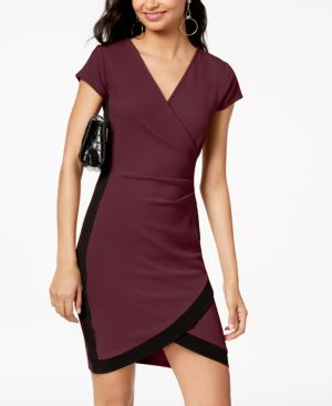 ALMOST FAMOUS Juniors' Framed Wrap Dress in Wine/Black