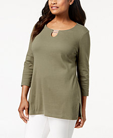 Karen Scott Split-Neck Tunic Top, Created for Macy's