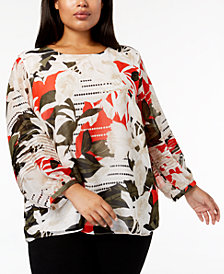 Calvin Klein Plus Size Printed Pleated-Sleeve Top
