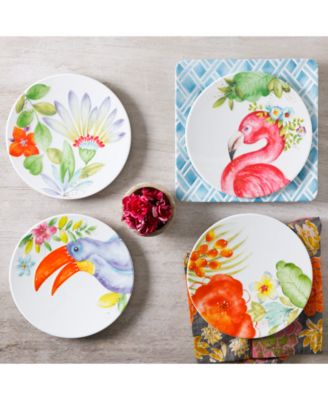 Brighten up indoor or outdoor meals and gatherings with the exotic bird floral and geometric imagery of this colorful mix-and-match Tropical Dinnerware ...  sc 1 st  Macyu0027s & Gibson Tropical Melamine Dinnerware Collection Created for Macyu0027s ...