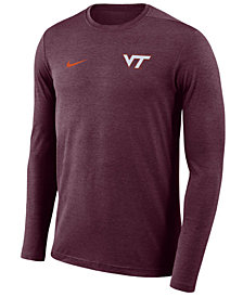 Nike Men's Virginia Tech Hokies Long Sleeve Dri-Fit Coaches T-Shirt