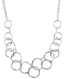 Nine West Necklace, Silver-Tone Circle Frontal Necklace