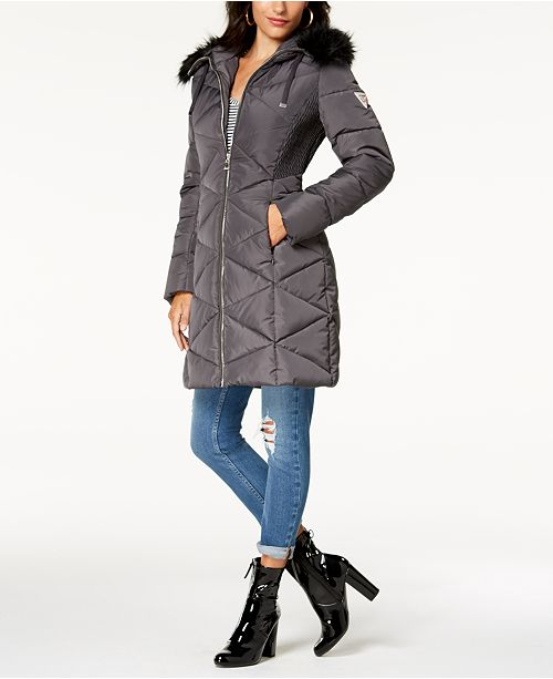 45db2e072a60 GUESS Faux-Fur-Trim Diamond-Quilted Puffer Coat   Reviews - Coats ...
