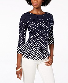 Pima Cotton  Button-Shoulder Print Top, Created  for Macy's