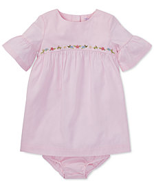 Ralph Lauren Baby Girls Cotton Ruffle-Sleeve Dress