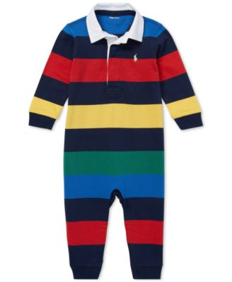 Baby Boys Ralph Lauren Baby Boys Striped Cotton Rugby Coverall
