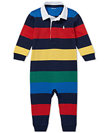 Ralph Lauren Baby Boys Striped Cotton Rugby Coverall