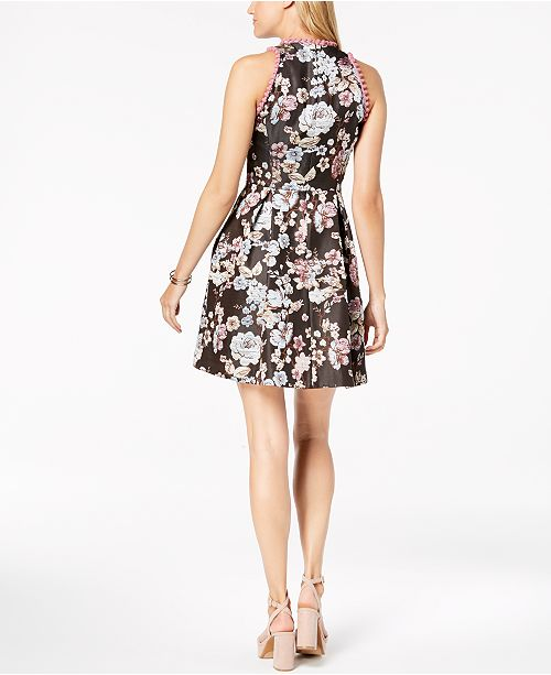 d89fad66441 ... Laundry by Shelli Segal Floral-Printed Pom Pom Fit   Flare Dress ...