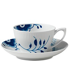Blue Fluted Mega Teacup & Saucer