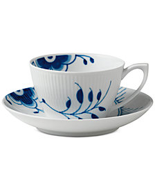 Royal Copenhagen Blue Fluted Mega Teacup & Saucer