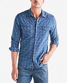 Lucky Brand Men's Geometric Dobby Western Shirt