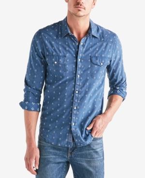 Lucky Brand Men's Geometric Dobby Western Shirt