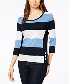 Tommy Hilfiger Cotton Rugby-Stripe Top, Created for Macy's